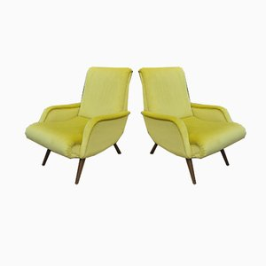 Vintage Velvet Yellow Lounge Chairs, 1950s, Set of 2