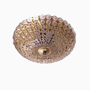 Mid-Century German Glass and Brass Ceiling Lamp from H. Richter, 1950s