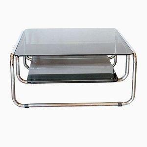 Tavolino da caffè in vetro nero con struttura in metallo cromato, anni '70