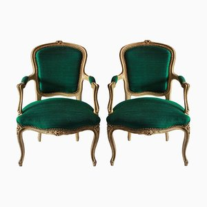 Antique French Emerald Silk and Wood Armchairs, Set of 2