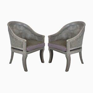 Englische Vintage Beistellstühle aus Schilfrohr, 1930er, 2er Set