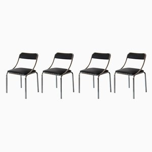 Black Dining Chairs, 1970s, Set of 4