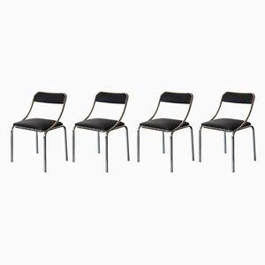 Schwarze Esszimmerstühle, 1970er, 4er Set