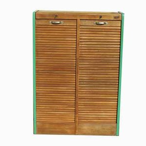 Oak Double Sided Roll-Front Cabinet, 1960s