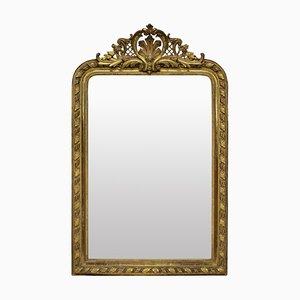 Espejo de repisa antiguo dorado, década de 1860