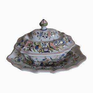 Zuppiera antica e piatto, set di 3
