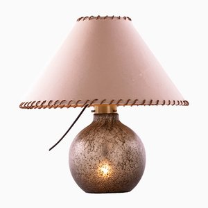 Tischlampe aus bernsteinfarbenem Sideglas von Peill & Putzler, 1960er