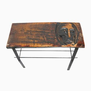 Carved Wooden Side Table, 1970s