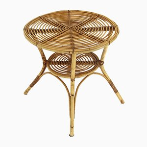 Round Rattan Coffee Table, 1960s