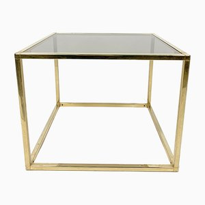 Cubic Brass-Plated and Glass Side Table, 1970s