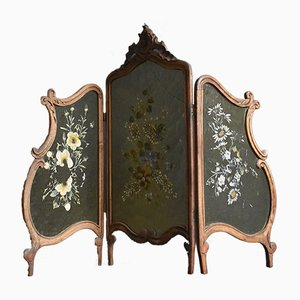Antique French Carved Walnut Fire Screen