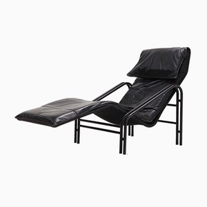 Chaise longue in pelle, anni '80
