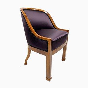 Antique Biedermeier Walnut Veneer and Purple Silk Armchair