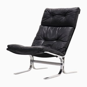 Mid-Century Black Leather and Chrome Lounge Chair, 1970s