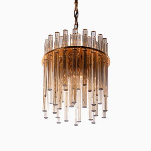 Amber Crystal Rod Chandelier by Christoph Palme for Palwa, 1960s