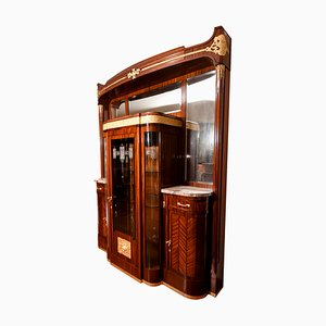 Antikes italienisches Sideboard aus Mahagoni mit Vitrinenschrank von Giambattista Gianotti