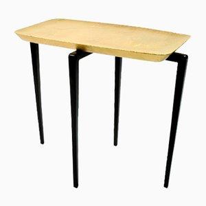 Mesa auxiliar con hoja dorada y marquetería de fibra de Ginger Brown