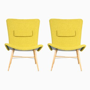 Czech Green Beech Armchairs, 1950s, Set of 2
