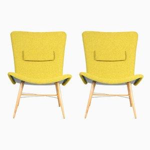 Grüne tschechische Stühle aus Buche, 1950er, 2er Set