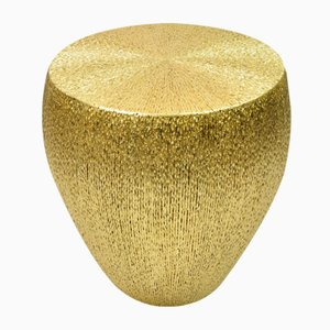 Stool in Fiber Marquetry with Gold Leaf Covering from Ginger Brown