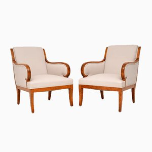 Antique Swedish Satin and Birch Armchairs, Set of 2