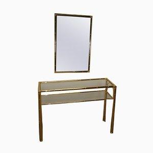 Consolle Hollywood Regency dorata con specchio, anni '70, set di 2