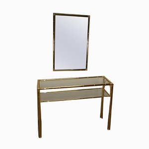Hollywood Regency Golden Bamboo Console Table and Mirror, 1970s, Set of 2