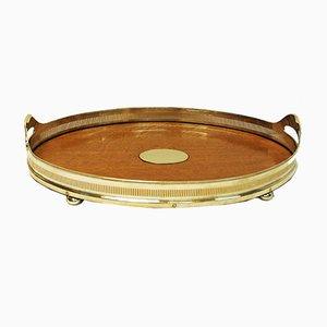 Antique Oval Oak Serving Tray from Mappin & Webb