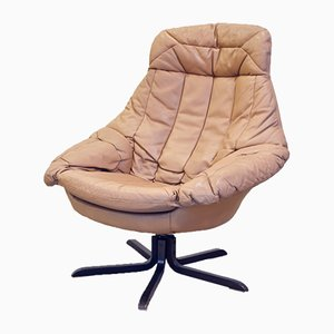 Cream Leather Swivel Chair by H. W. Klein for Bramin, 1970s