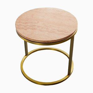 Modern Diana Round Coffee Table With Brass Tint and Marble by Casa Botelho