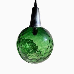 Mid-Century Deckenlampe aus grünem Glas