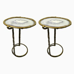 Tables d'Appoint en Laiton Moulé avec Plateau en Agate de Ginger Brown, Set de 2