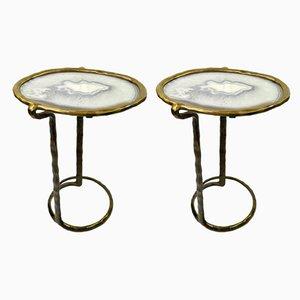 Tavolini in ottone fuso con ripiano in agata di Ginger Brown, set di 2