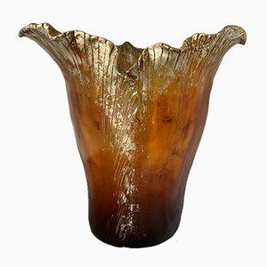 Bernsteinfarbene italienische Vintage Vase, 1970er