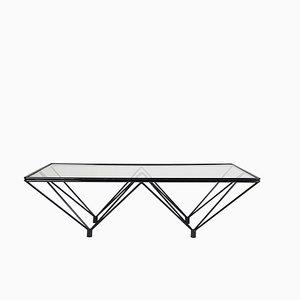 Tavolino da caffè vintage in metallo nero e vetro colorato