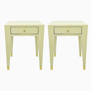 Bedside Tables in Eggshell Marquetry with Brass Ball Handle and Brass Caps from Ginger Brown, Set of 2
