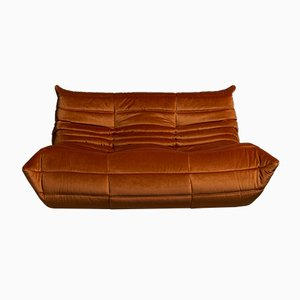Orange Velvet Togo Sofa by Michel Ducaroy for Ligne Roset, 1973