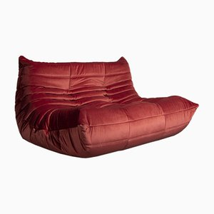 Dark Pink Velvet Togo Sofa by Michel Ducaroy for Ligne Roset, 1973