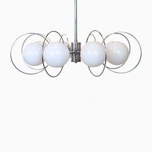 Mid-Century Space Age Opaline Glass Chandelier