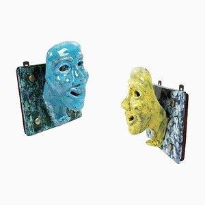 Patères Murales Masques Mid-Century en Céramique Bleue et Jaune, Set de 2