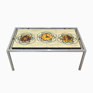 Tavolino da caffè in metallo cromato e ceramica, anni '70