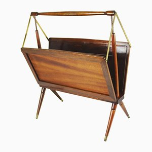 Mid-Century Wood and Brass Folding Magazine Rack by Cesare Lacca