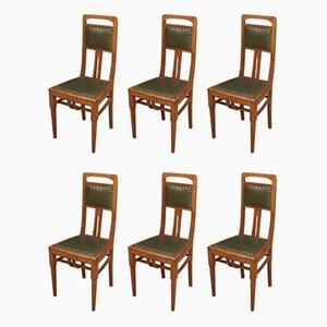 Antike französische Esszimmerstühle aus Eiche, 6er Set