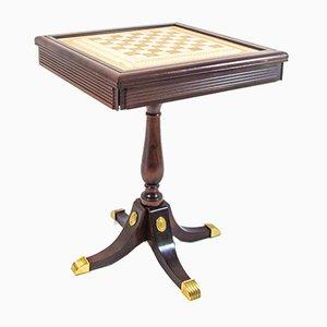 Tavolino da scacchi vintage con pezzi di Franklin Mint