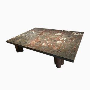 Mesa de centro vintage grande de piedra
