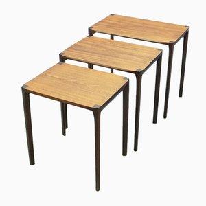 Tavolini ad incastro antroposofici in teak di Rex Raab per Wilhelm Renz, anni '60, set di 3