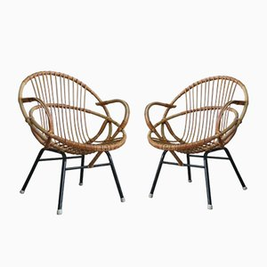 Rattan Armchairs from Rohé Noordwolde, 1960s, Set of 2