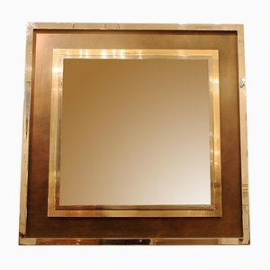 Espejo grande con marco de cromo, años 70
