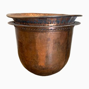 Large French Riveted Copper Urn, 1920s