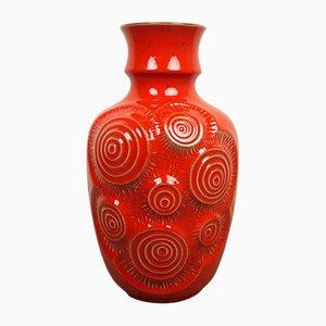 German Red Op Art Pottery Vase from Bay Keramik, 1960s